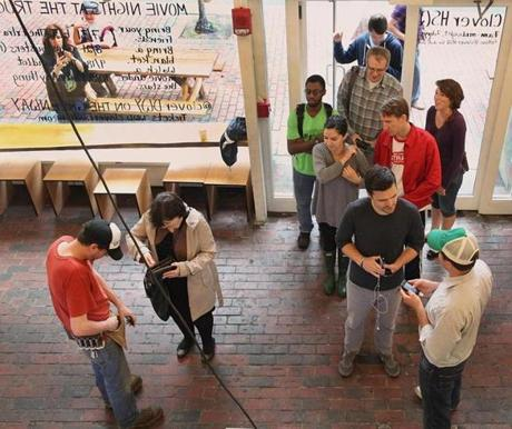 Customers lined up at the Clover Food Lab in Harvard Square on Friday. It reopened last Thursday.