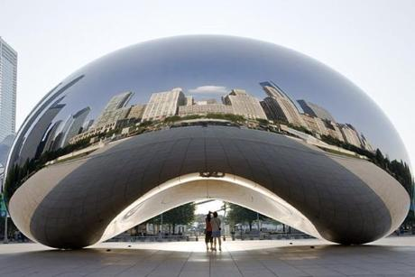 The 110-ton, 30-foot high Cloud Gate sculpture in Millennium Park.