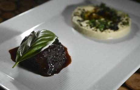 Sultan's delight is beef glazed in tamarind and paired with eggplant puree and pine nuts.