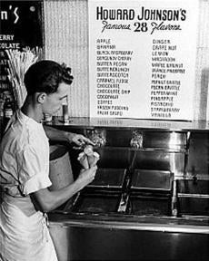A server scooped one of the famous 28 flavors of ice cream.