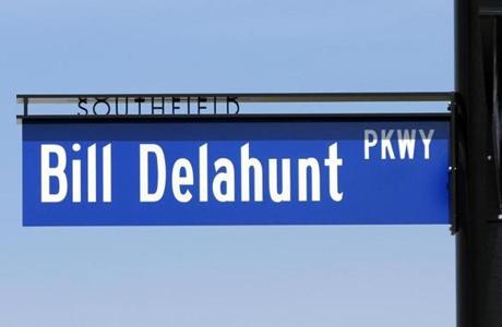 "The new ""Bill Delahunt Parkway"" sign at SouthField."