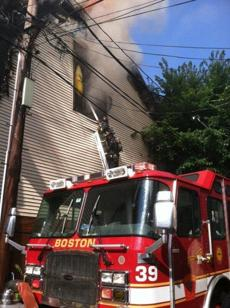Boston firefighters battled the blaze.
