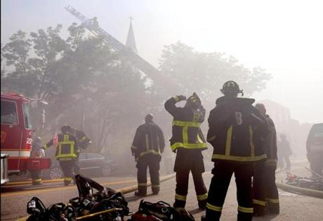 Eight firefighters suffered a variety of minor injuries, officials said.