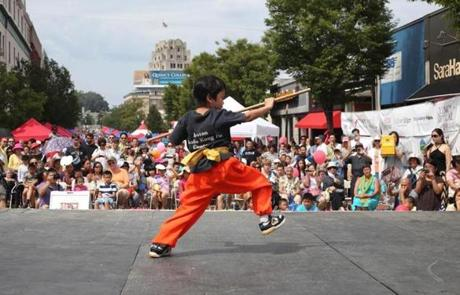 A student from the Boston Shaolin Kung Fu Center performed a routine.