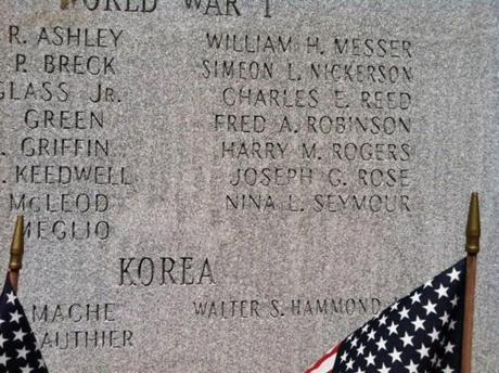 The name of Nina Seymour, a nurse who lost her life in World War I, is engraved in a memorial to veterans at Middleborough's Veterans Memorial Park.
