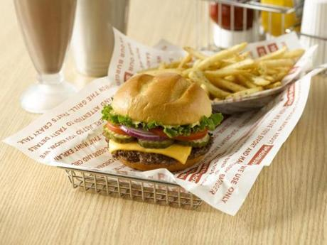 A burger and fries by Smashburger.