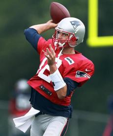 Tom Brady fired a pass during a drill.