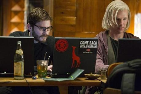 "Daniel Bruhl (left) and Benedict Cumberbatch in ""The Fifth Estate."""
