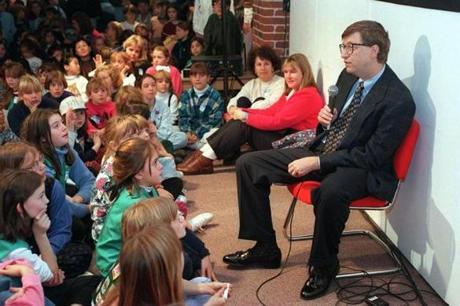 Bill Gates spoke to a group of Girl Scouts at the Computer Museum in Boston in November 1995.