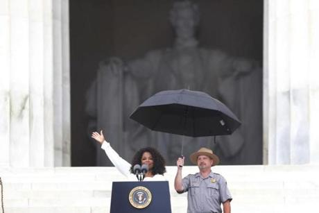 Oprah Winfrey speaks at the 50th Anniversary of the March on Washington where Martin Luther King, Jr. spoke, Wednesday, Aug. 28, 2013, at the Lincoln Memorial in Washington. (AP Photo/Charles Dharapak)