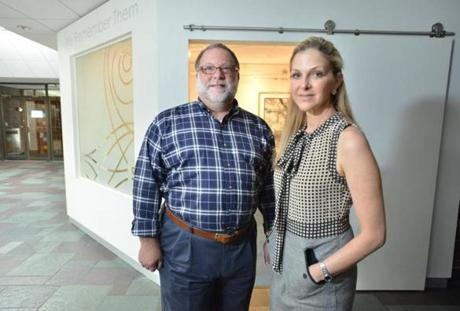 Congregation Shirat Hayam CEO Robert Krentzman, and Archetecht Wendy Polins stand outside the Rembembrance room.