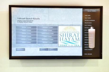 The virtual remembrance kiosk at the Remembrance room at Congregation Shirat Hayam, where people can push a button a call up the person's name, date of death and any photos or videos that a relative has chosen to add to the person's profile.