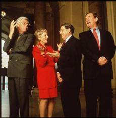 "The 1997 ""Crossfire"" panel (from left): Bill Press, Geraldine Ferraro, John Sununu, and Pat Buchanan."