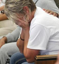 Susan Rawlinson, mother of Steven Jones, sobbed as Jones's accused killer was brought into court.