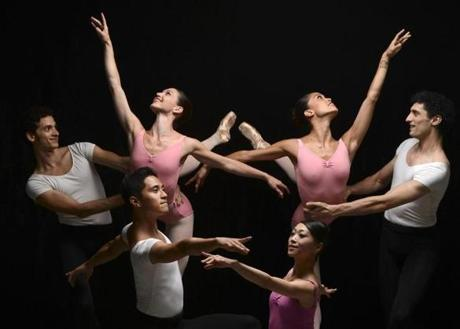 Boston, MA 090613 Cover shot for an upcoming Boston Ballet 50th Anniversary special photographed at the ballet's studio in the South End on September 5, 2013. Back row L- R: Alejandro Virelles, Kathleen Breen Combes, Lia Cirio and Lasha Khozashvili. Front row L-R: Jeff Cirio and Misa Kuranaga. (Essdras M Suarez/ Globe Staff)/ G