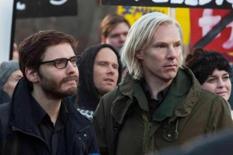 "Benedict Cumberbatch (right, with Daniel Bruhl) as Julian Assange in "" The Fifth Estate."""