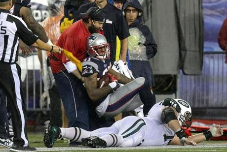 Talib was then knocked out of bounds.