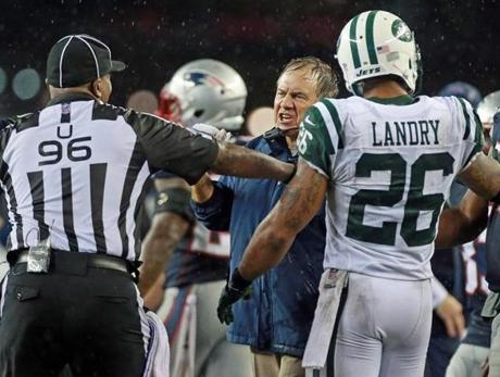 Patriots head coach Bill Belichick screamed at referee Undrey Wash.