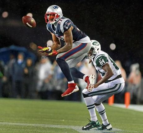 Cornerback Aqib Talib leaped in front of Jets wide receiver Stephen Hill and made the interception in the final minute of the game.