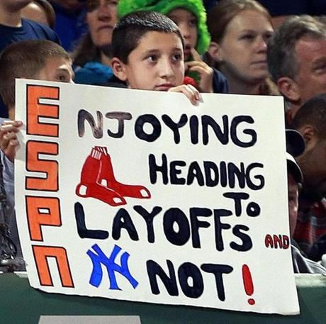 With the Red Sox' victory, this fan's message took one step closer to reality.