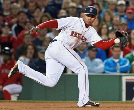 Xander Bogaerts threw out the Yankees' Vernon Wells to end the top of the fifth inning.