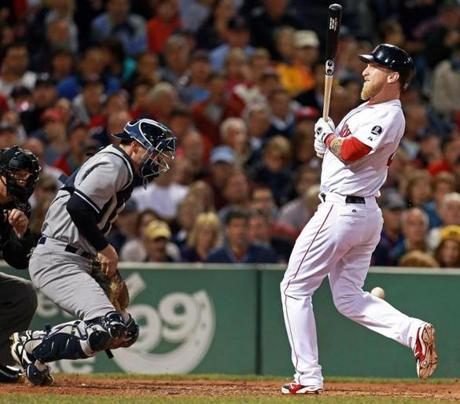 Mike Carp was hit by a pitch in the fifth inning with the bases loaded, putting the Red Sox at 5-1.
