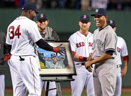 Before the game, the Red Sox honored retiring Yankees legend Mariano Rivera.