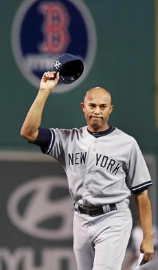 Rivera, who has said he will retire after the season, tipped his cap to the crowd at Fenway Park.