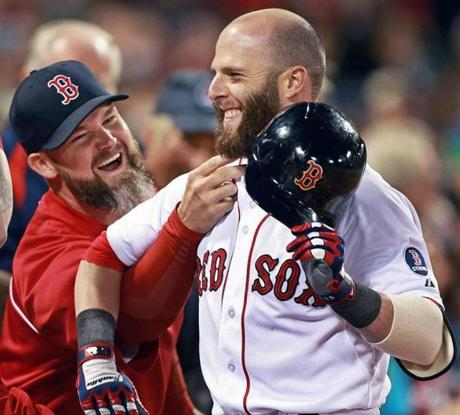 Dustin Pedroia got the full beard-pulling treatment from David Ross after his home run.