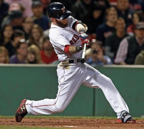 Dustin Pedroia led off the bottom of the first inning with a long home run.