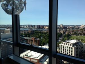 """I can't get over it,"" exclaims Javid after seeing the view (above) from the 25th floor of the Residences at W Boston during a condohunting tour."