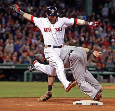 Dustin Pedroia was safe at first base on a seventh-inning throwing error by Orioles third baseman Manny Machado.