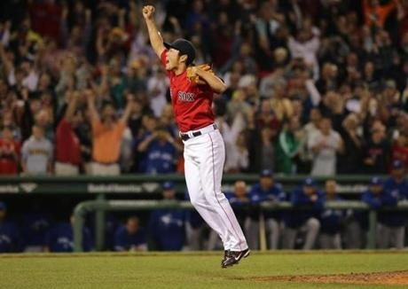 Closer Koji Uehara leaped in celebration after recording the final out.