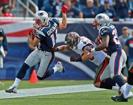 Edelman tiptoed down the sidelines as he made a nice return of a punt.