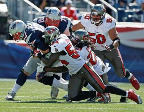 Brady was sacked by Lavonte David and Mark Barron.