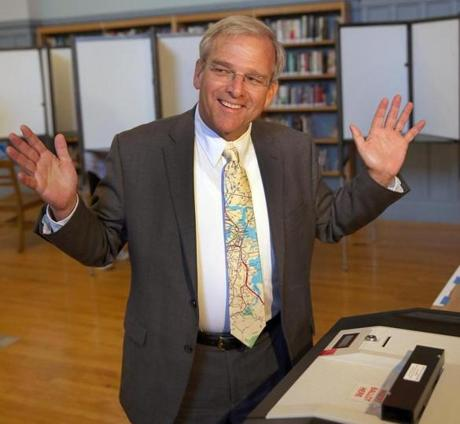 Bill Walczak voted at the Cristo Rey School in Dorchester.