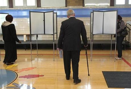 Mayor Thomas Menino voted at the Roosevelt School Lower Campus.