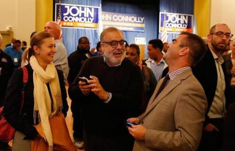 John Connolly supporters Deanna Palmini, Ken Tutunji, and Paul Duffy watched returns.