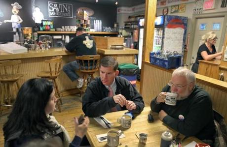 Press secretary Kate Norton met with Martin J. Walsh and adviser Michael Goldman in Dorchester.