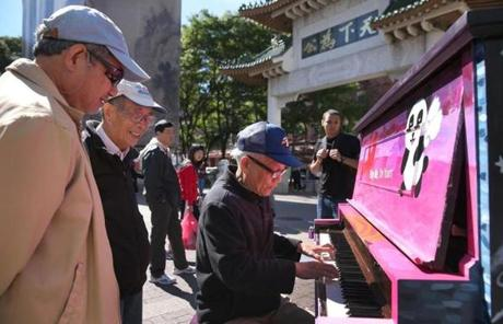 Ming Weng played in Chinatown. Seventy-five pianos were in public spaces in Boston, Cambridge, Somerville, and Brookline.
