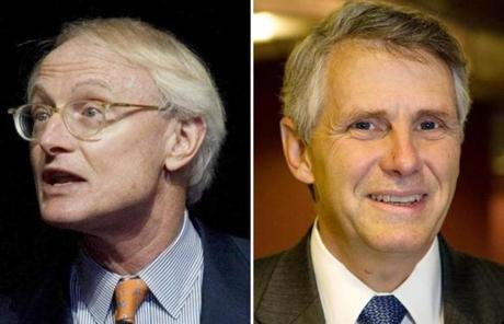 Harvard's Michael Porter (left) chairs the board of Continuum Energy Technologies, a company cofounded by former MIT administrator John T. Preston (right) in 1999.