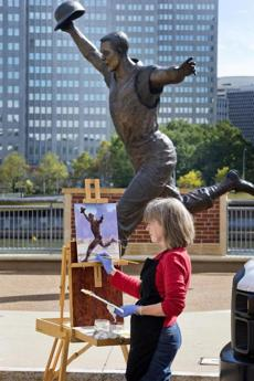 Artist Diane Grguras painted the statue of Bill Mazeroski, depicted after hitting the walkoff World Series home run against the Yankees in 1960.