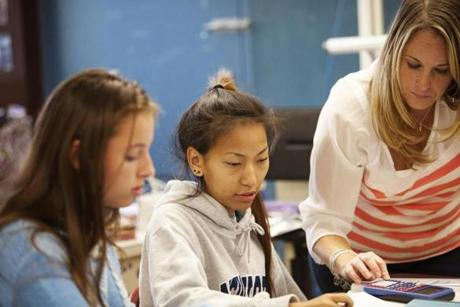 Calioro and her middle schoolers in East Cambridge are working from a curriculum called Math in Focus.