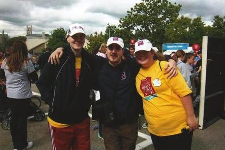 Jack Coates (left), Bernard Manning, and Katie Nickerson at a Jimmy Fund walk.