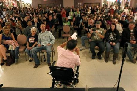Marc spoke to family, friends, and well-wishers at his fund-raiser at the Montavale Plaza in Stoneham.