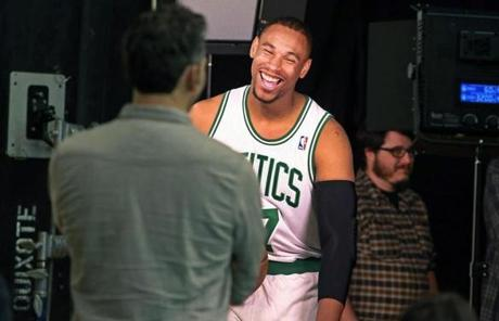 Jared Sullinger had a laugh during a television shot.