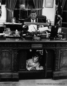 JFK Jr. under the president's desk in 1963..