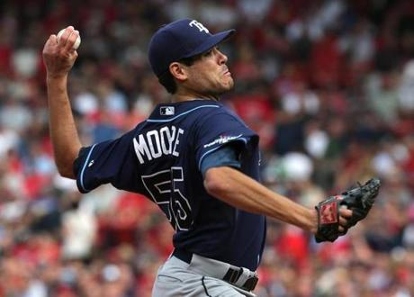 Rays pitcher Matt Moore started against the Red Sox.