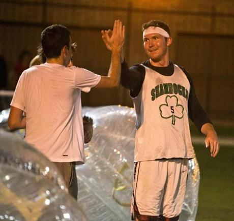 John Dellaplane got a high-five after a Chicago Bubble Soccer game.