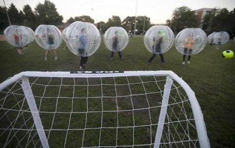 Bubble soccer involves humans in giant womb-like inflatables playing the beautiful game.